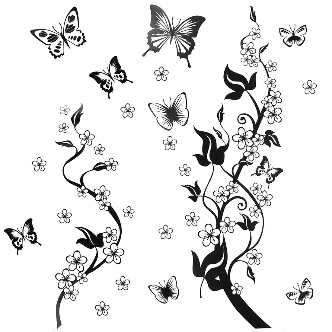 Unique Bargains Home Decor Black Self Adhesive PVC Butterfly Flowers Wall Sticker Decal