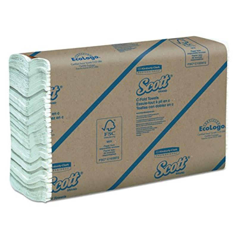 Scott 02920 C-Fold Paper Towels, 100% Recycled, 10 1/10 x 13 1/5, Pack of 200 (Case of 12 Packs)