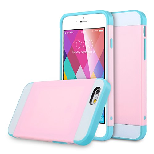 ULAK Hybrid Ultra Slim Protective Case for iPhone 6 Plus and iPhone 6s Plus (5.5 inch) Dual Layer Premium Cover with Card Storage (Pink/Light Blue)