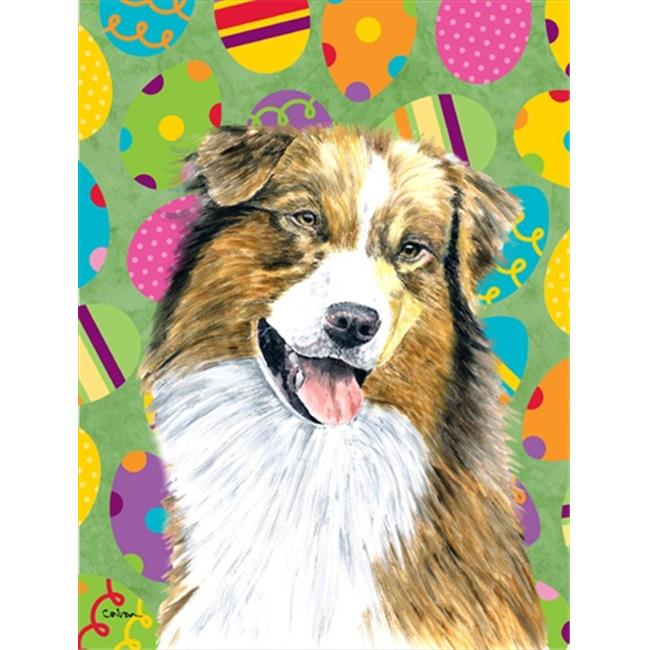 Carolines Treasures SC9477CHF 28 x 40 in. Australian Shepherd Easter Eggtravaganza House Size Canvas Flag - image 1 of 1