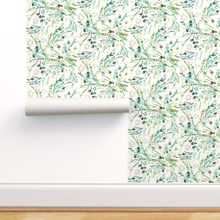 Removable Water-Activated Wallpaper Greenery Botanical Mint Cream Leaves Leaf Mint Cream Sauce