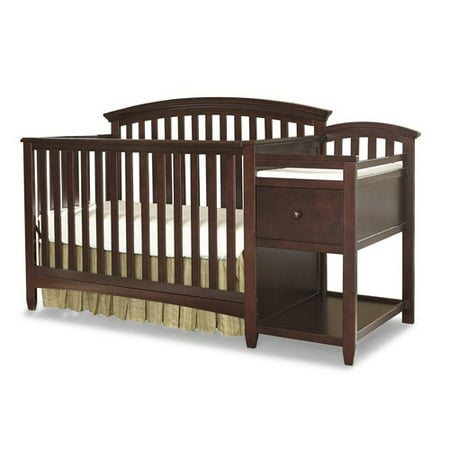 imagio baby montville 4 in 1 fixed side crib and changing table combo with pad chocolate mist. Black Bedroom Furniture Sets. Home Design Ideas