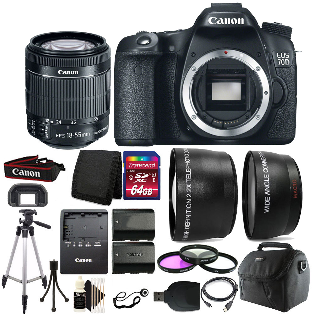 Canon EOS 70D 20.2MP D-SLR Camera with 18-55mm Lens & 64G...