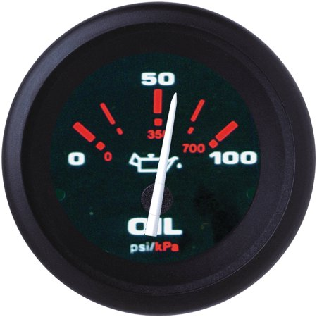Oil Pressure Gauge Black Dial (Sierra 57929P Amega Signature Series 2