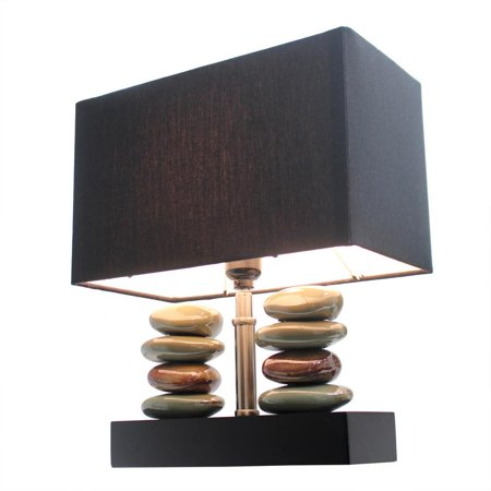 - Rectangular Dual Stacked Stone Ceramic Table Lamp with Black Shade