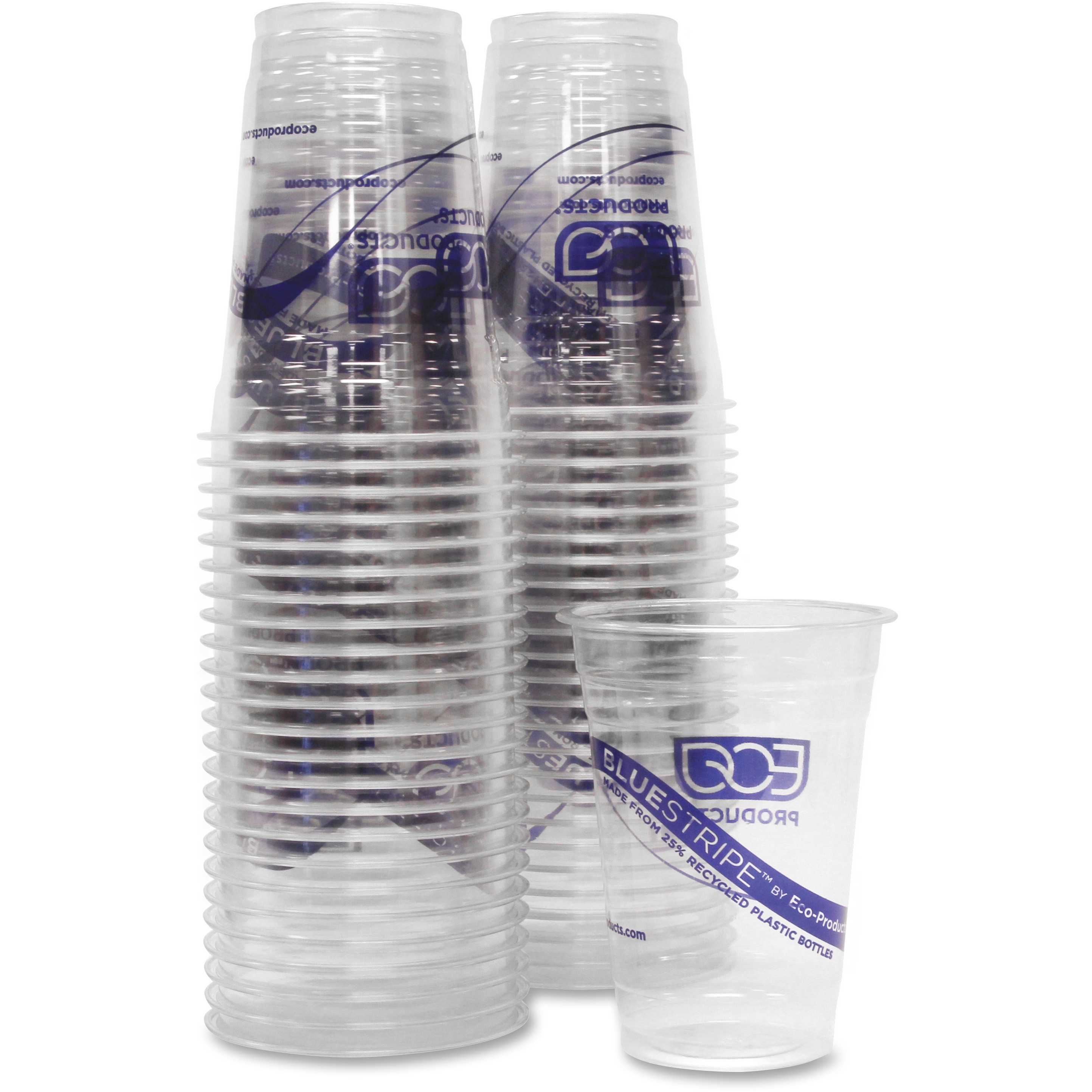 Eco-Products, ECOEPCR16, BlueStripe Cold Cups, 1000 / Carton, Clear, 16 fl oz