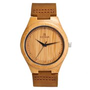 Couple Bamboo Wooden Wristwatch Leather Strap Japanese Quartz Movement Watch for Men and Women Brown