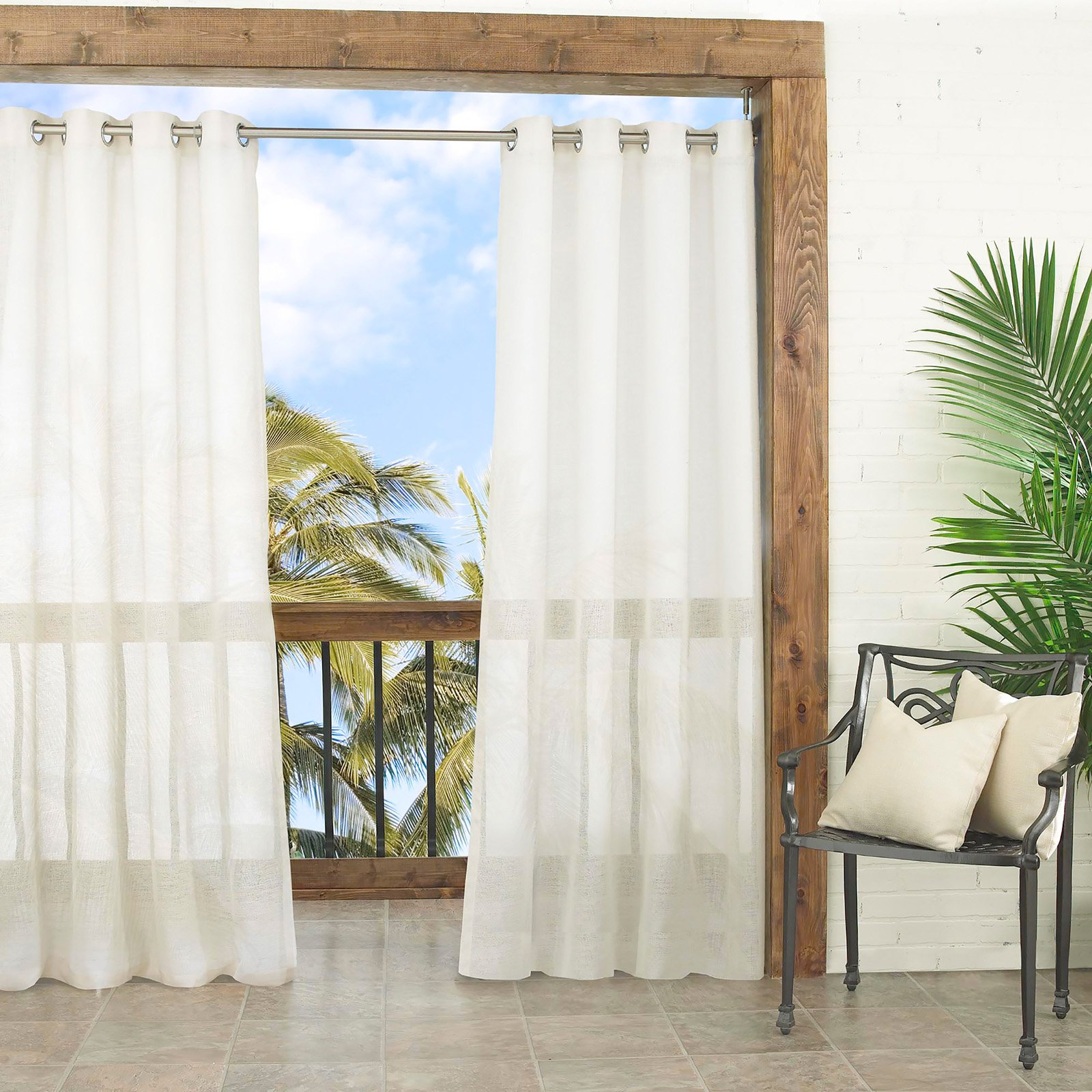 Parasol Summerland Key Sheer Indoor Outdoor Curtain Panel Walmart Com Walmart Com