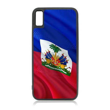 Flag Haiti  - Waving Haitian Flag Print Design Black Rubber Case for iPhone XR - iPhone XR Phone Case - iPhone XR Accessories ()