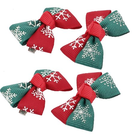 Pet Dog Snowflake Print Hair Grooming Hairpin Headdress Clip 4 Pcs Green Red