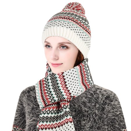 f085aa60e3e Vbiger - Vbiger Women Knitted Cap and Scarf Set Beanie Skull Hat ...