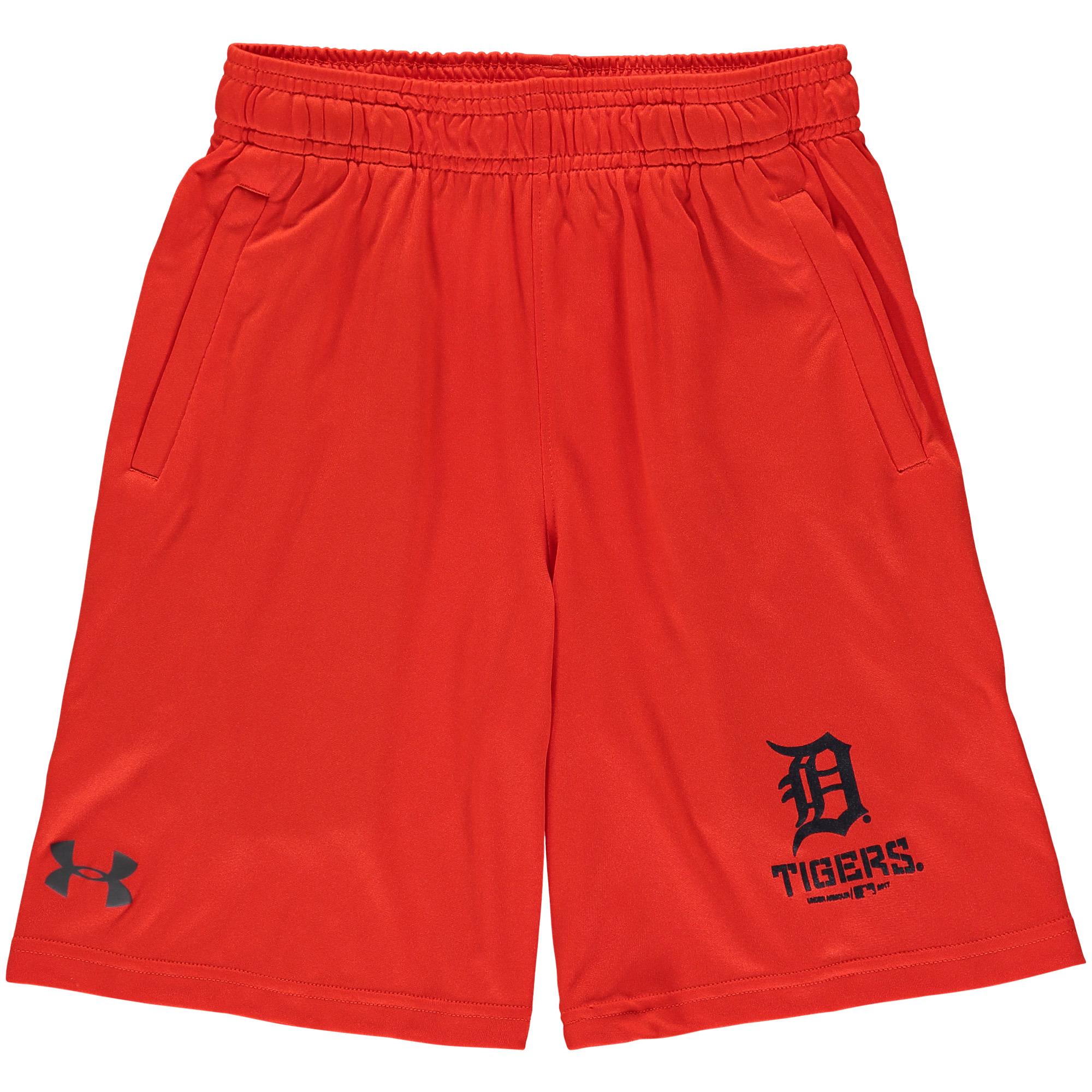 Detroit Tigers Under Armour Youth Intimidator Performance Shorts - Orange