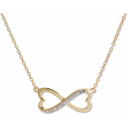 18kt Gold over Silver Clear Crystal Infinity/Heart Necklace