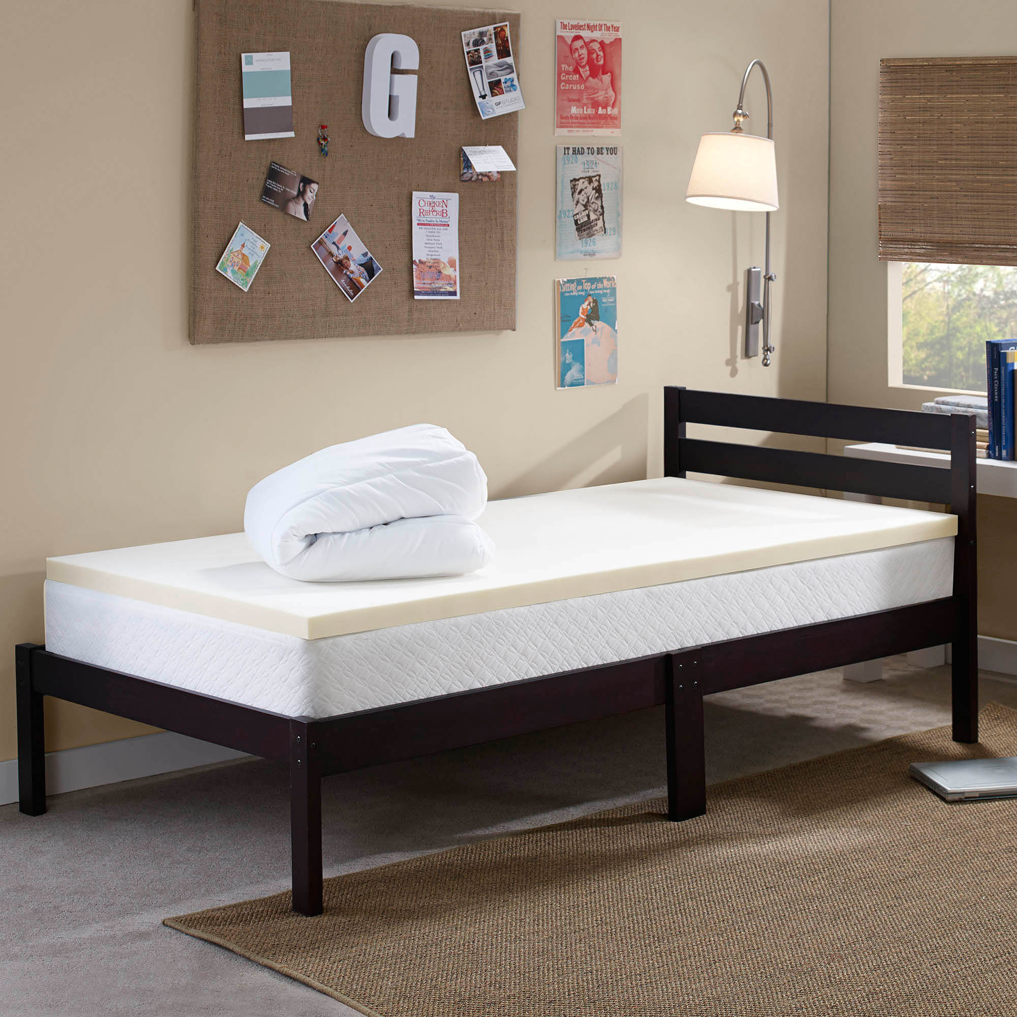 "Sleep Innovations Comfort U 1.5"" Topper and 0.5"" Mattress Pad Bundle, Beige"