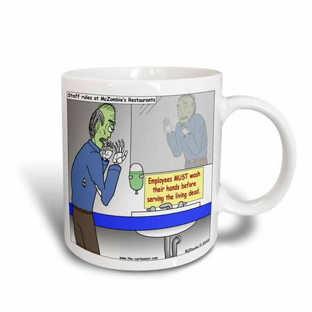 3dRose Halloween - Zombie Restaurant Warnings, Ceramic Mug,