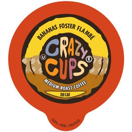Crazy Cups Decaf Banana Foster Flambe Flavored Coffee Single Serve Cups, 22 count