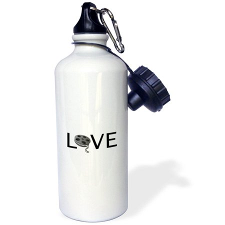 3dRose Love with movie reel for O filming buff film making passion black text, Sports Water Bottle, 21oz