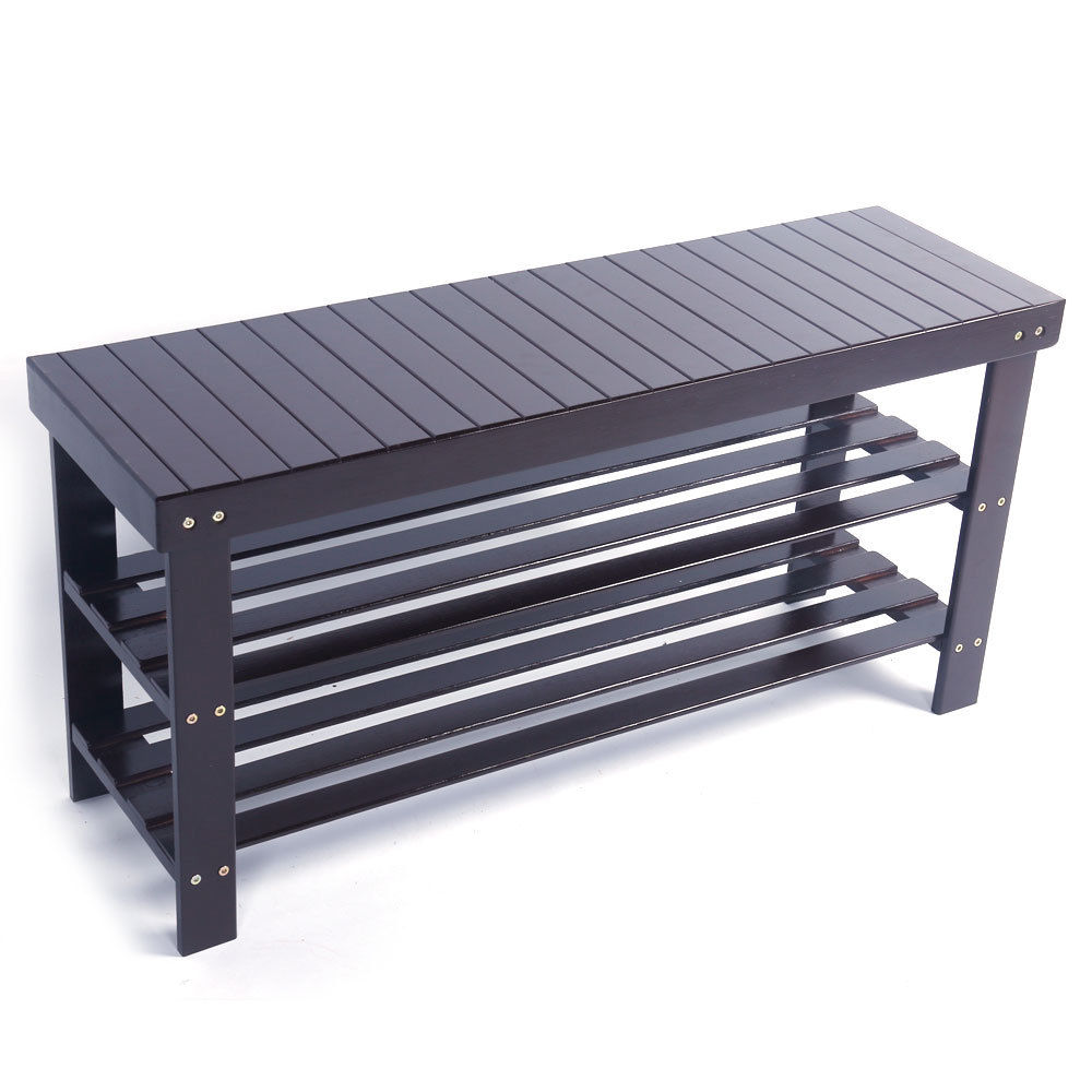 Zimtown 3 Tier Bamboo Shoe Rack Bench Storage Shelf Organizer Entryway Home Furni,Coffee