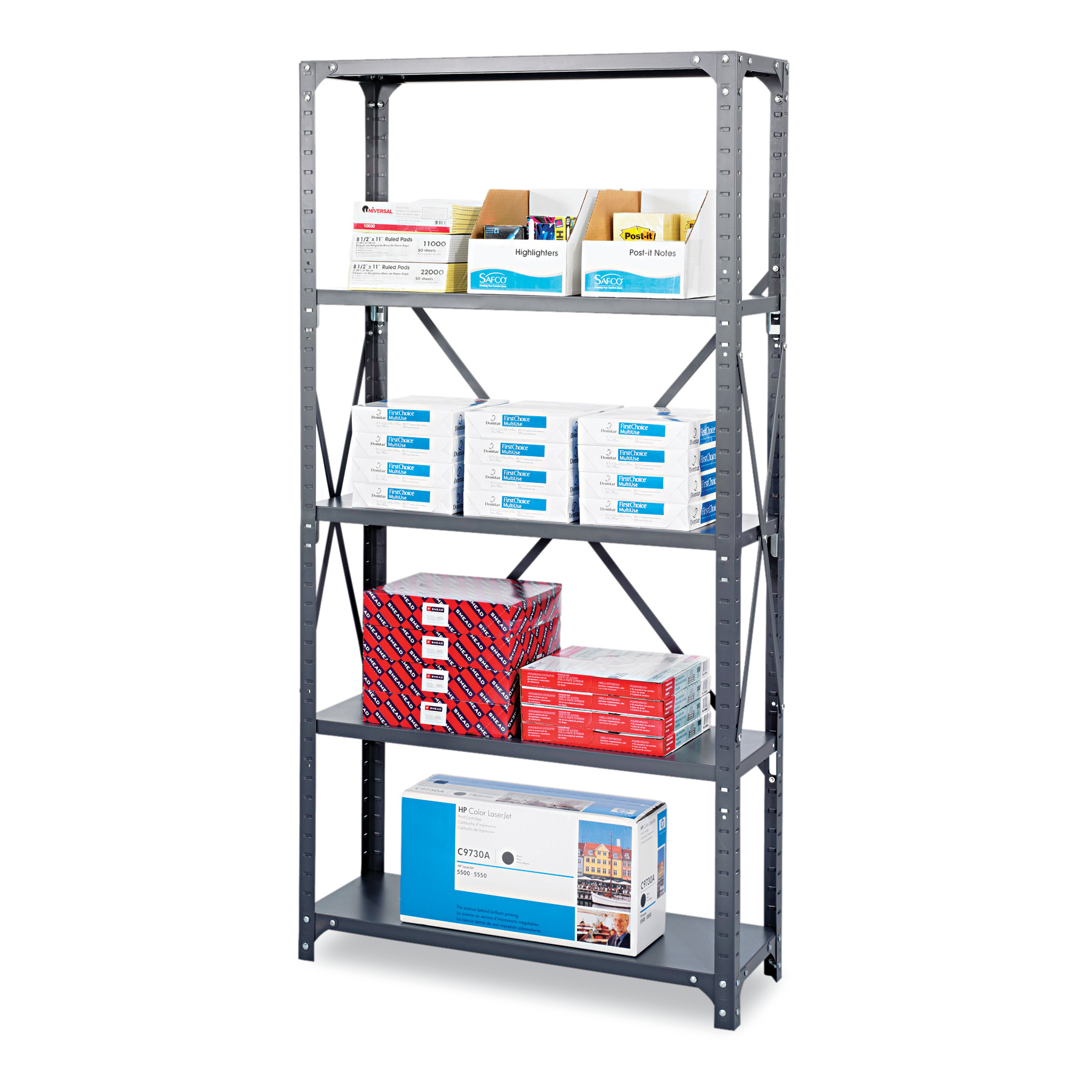 Safco Commercial Steel Shelving Unit, Six-Shelf, 36w x 18d x 75h, Dark Gray