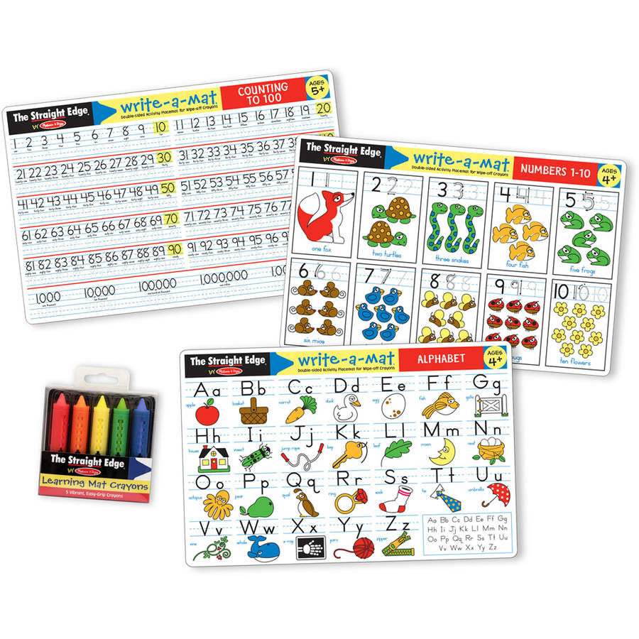 Melissa & Doug Alphabet and Numbers Placemats, Set of 3 Double-Sided Mats) with 5 Wipe-Off Crayons
