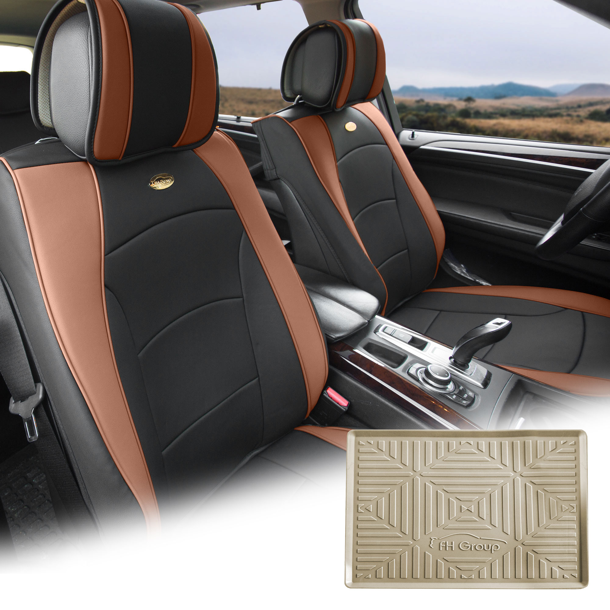 FH Group Brown Black PU Leather Front Bucket Seat Cushion Covers for Auto Car SUV Truck Van with Beige Dash Mat Combo