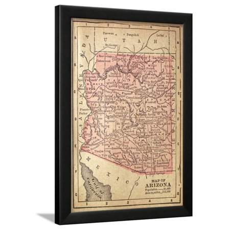 Map Of Arizona 1880.1880 Map Of Arizona Framed Print Wall Art By Twoellis