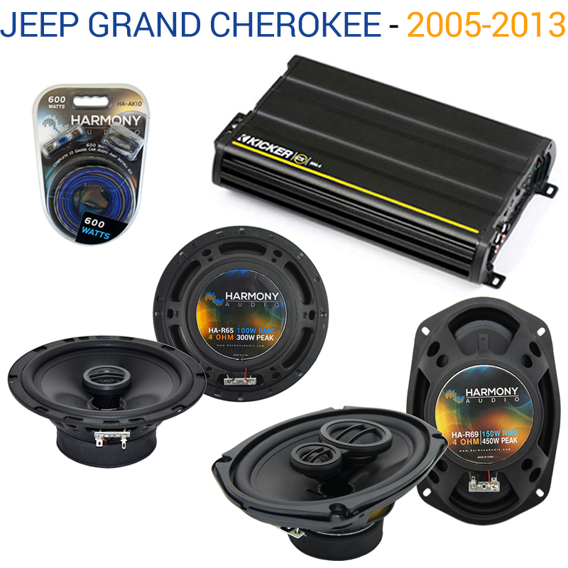 Jeep Grand Cherokee 05-13 OEM Speaker Upgrade Harmony R69 R65 & CX300.4 Amp Factory Certified Refurbished by Harmony Audio
