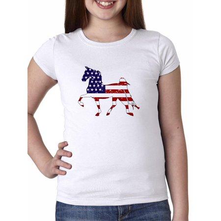 American Flag Equestrian Horse Trotting - USA Girl