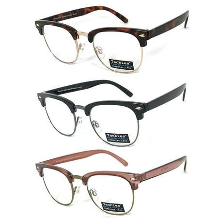 - 2 Techies Retro Glasses Blue Blocking Computer Lens Eyeglasses UV No Strength