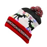 Unisex10 LED Light Up Christmas Beanie Cap with Reindeer Printing, Red