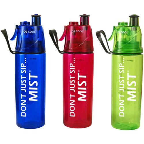 O2 Cool Mist 'N Sip 20 Ounce Sports Bottle Water Bottle w/ Mist Fan Grey
