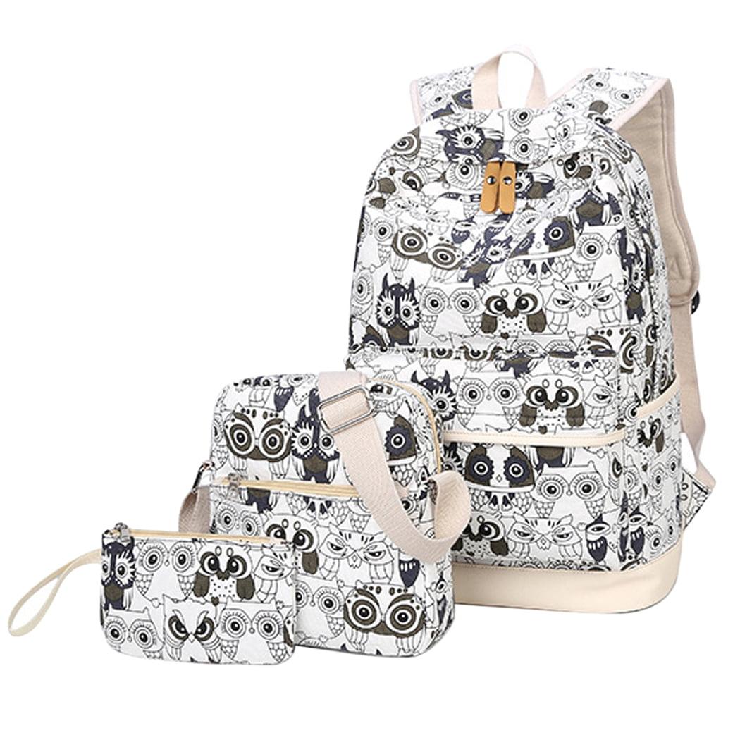 3 Sets Casual Backpack,Coofit Canvas Owl Bag Travel Rucksack Scool Backpack Shoulder Bag Small Wallet for Women Girls... by Coofit