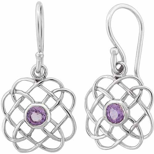 Amethyst Sterling Silver Crisscross Earrings