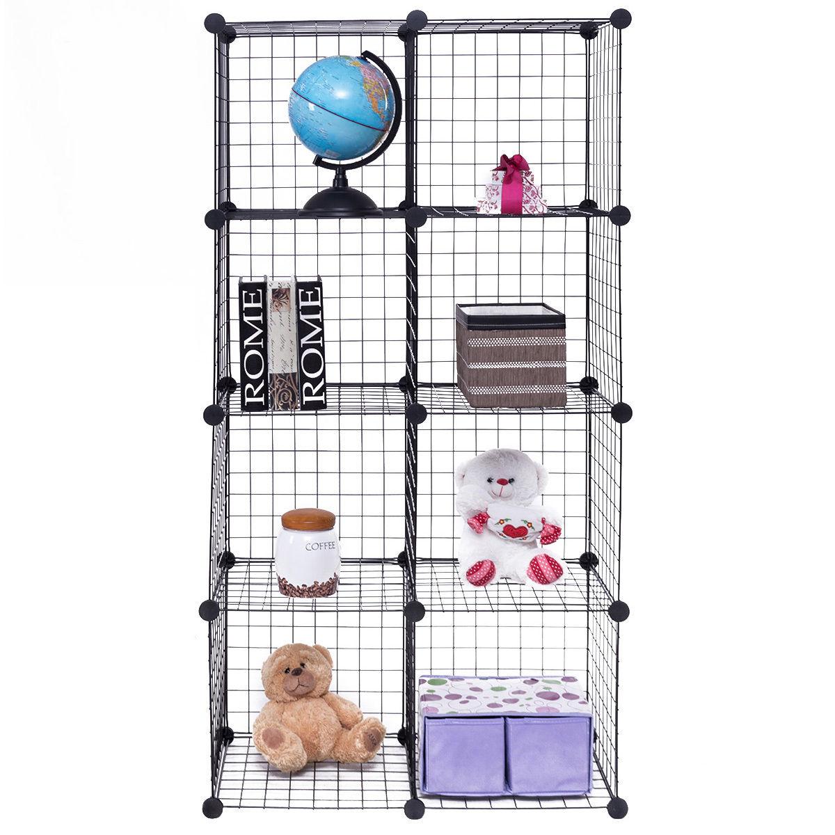Gymax 8 Cube Grid Wire Organizer Wardrobe Shelves Bookcase DIY