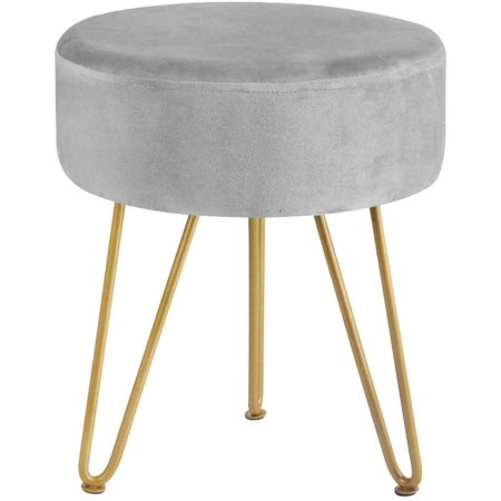 Velvet Footrest Footstool Ottoman Round Modern Upholstered Vanity Foot Stool Side Table Seat Dressing Chair with Golden Metal Leg Grey Stool Cafeteria Table