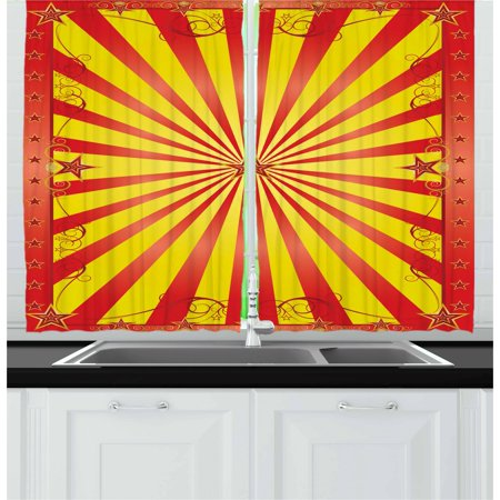 Circus Curtains 2 Panels Set, Retro Background with Curves Beams and Stars for Flyer or Acrobat Shows in Circus, Window Drapes for Living Room Bedroom, 55W X 39L Inches, Multicolor, by Ambesonne