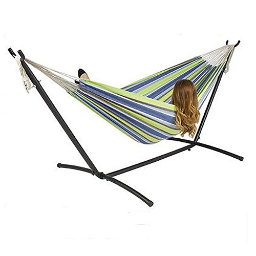 GHP 440-Lbs Weight Capacity Green Double Hammock with Steel Stand & Carrying Case