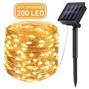 Solar String Lights (72 ft, 200 LED, Waterproof, 8 Modes), AICase Starry Fairy Bendable Copper Wire Durable Outdoor String Lights for Garden, Patio, Home, Dancing, Wedding, Christmas Party (White)