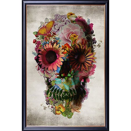 FRAMED Flower Skull by Ali Gulec 24x36 Poster Dry Mounted in Executive Series Black Wood Frame With Gold Lip - Crafted in USA - Black History Month Crafts