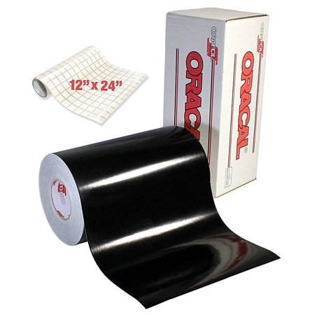 "ORACAL 651 Craft Vinyl Wrap | Gloss Black 6ft x 12"" For Cricut & Silhouette | Oracle 651 Vinyl Sticker | + Free VViViD Clear Transfer Paper"