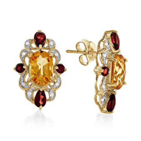 4.85 Carat Genuine Citrine & Garnet Earrings in 14K Yellow Gold Over Silver