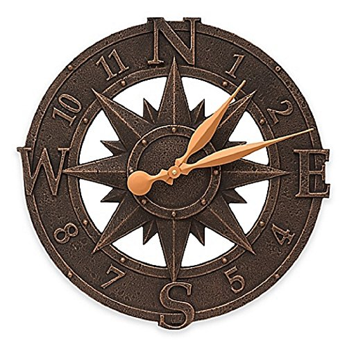 "Whitehall Products Compass Clock 16"" Diameter"