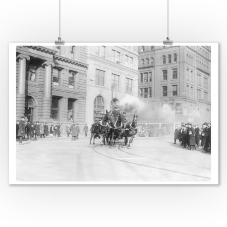 New York City - Fire Department's Horse Drawn Engine - Vintage Photograph (9x12 Art Print, Wall Decor Travel Poster) - Horse Drawn Fire Engine