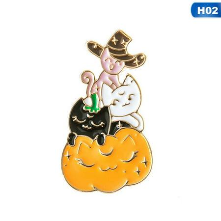Halloween Cat Face Pics (AkoaDa 1Pcs Halloween Magician Cat Funny Enamel Pin Brooches Cartoon Metal Brooch Pins Denim Hat Badge Backpack Bag Collar)