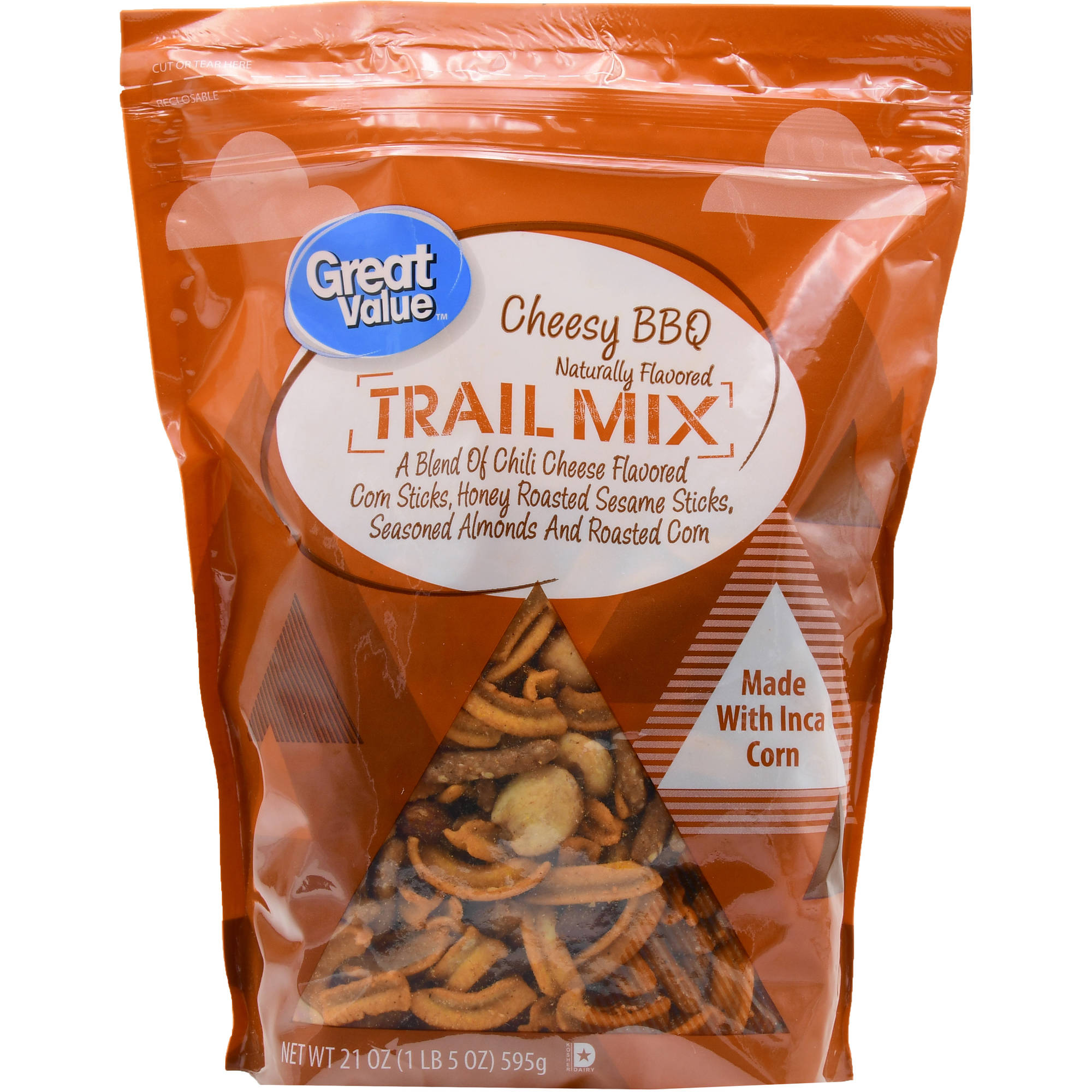 (2 pack) Great Value Trail Mix, Cheesy BBQ, 21 oz