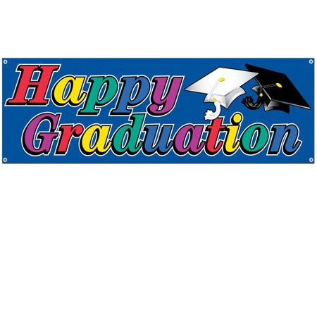 "Club Pack of 12 Multi-Colored Outdoor ""Happy Graduation"" Banner Hanging Party Decorations 5'"