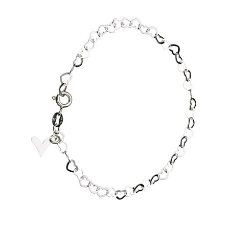 Sterling Silver Flat Heart Link Charm Bracelet Nickel Free Chain Italy,