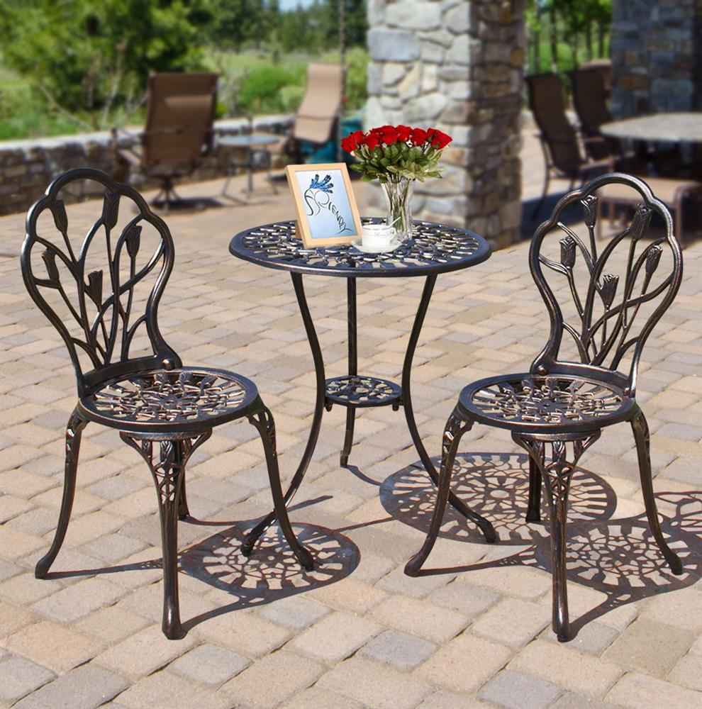 Topeakmart Patio Bistro Table and Chairs Set Outdoor Furniture Bistro Set-Bronze