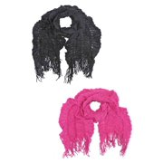 Black & Pink Crochet Lightweight Fashion Scarf 2-Pack Set