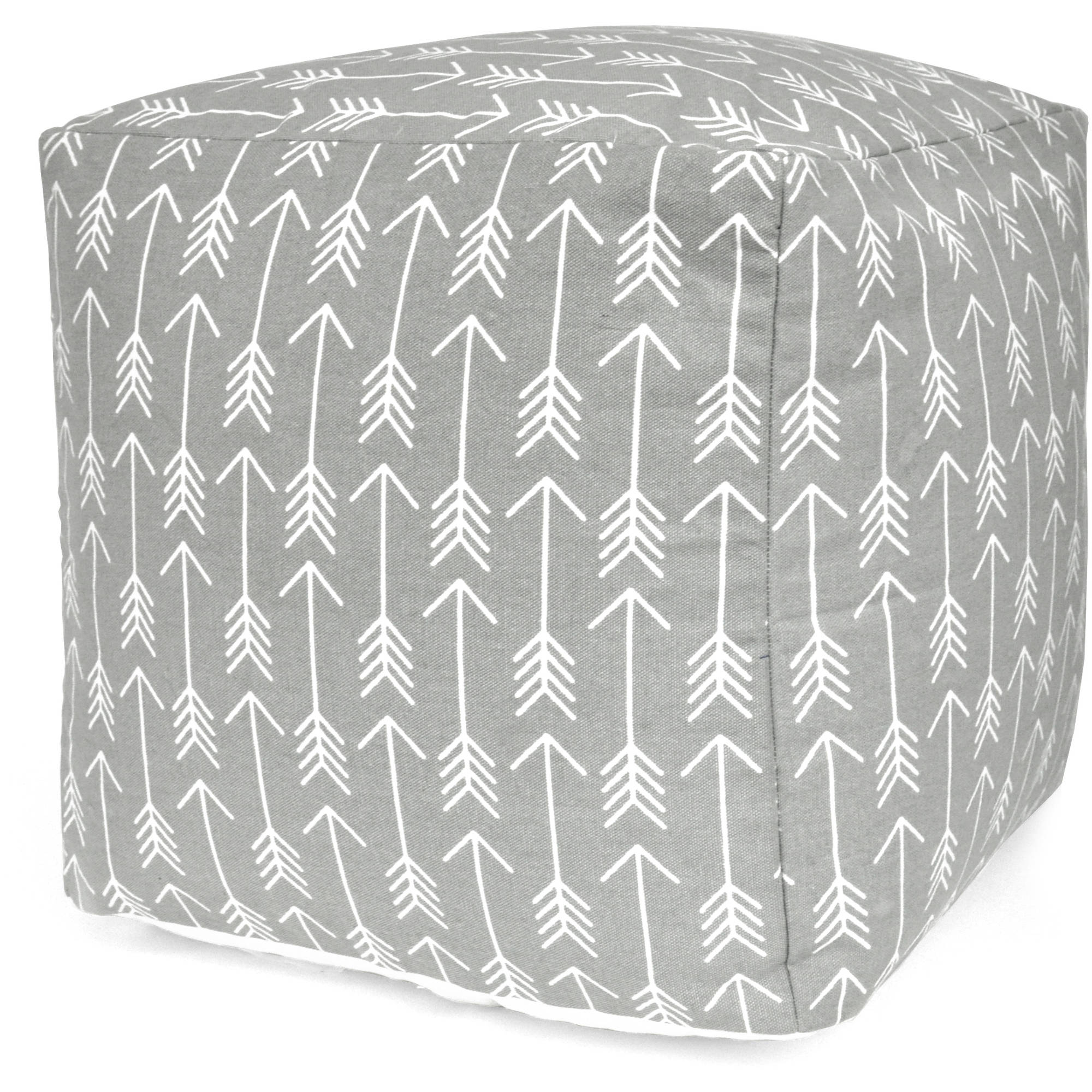 Urban Shop Arrow Print Pouf, Gray